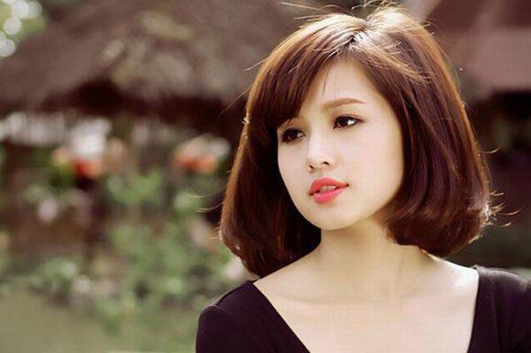 Kiểu tóc ngắn duỗi cúp phồng phong cách Hàn Quốc